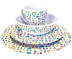 OLPro Berrow Hill Service de table en melamine 16 pieces Multicolore