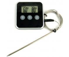 Yoko Design 1113 Thermomètre Sonde de Cuisson Plastique Noir/Chromé 7,8 x 1,5 x 7,8 cm