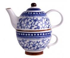Théière en porcelaine avec tasse - bleu / blanc - pot à thé / café - vaisselle