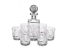 """Coffret avec 1 carafe à whisky et 6 verres à whisky - cristal -""""ROTATION STAR"""", Whiskyset, Service à Whisky Cristal 7 pièces est livré dans une smart présentation boîte cadeau, style moderne (GERMAN CRYSTAL powered by CRISTALICA)"""