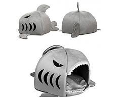 niceEshop(TM) Panier en Forme de Requin avec Matelas pour Chien et Chat (Gris, S)