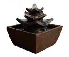 Zen'Light Temple Fontaine d'Intérieur Marron Foncé 16,5 x 16,5 x 15,5 cm