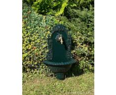 Fontaine murale de jardin avec vasque - style antique - aluminium - motif grappe de raisin - vert