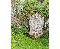 Fontaine murale de jardin avec vasque - fer - style antique - motif cheval - vert