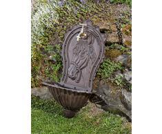 Fontaine murale de jardin avec vasque - fer - style antique - motif cheval - marron