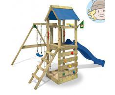 WICKEY Aire de jeux FreeFlyer Portique de jeux en bois Maison d'enfants avec balançoire, toboggan bleu, mur d'escalade, échelle de cordes, bac à sable + Accessoires