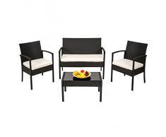 TecTake Salon de jardin Table de jardin en resine tressee chaises salon d'exterieur poly rotin noir