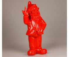 Statuette nain de jardin doigt d'honneur - maison/jardin - 15 x 12 x 32 cm - rouge