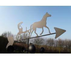 Girouette cheval et calèche en acier avec mât et fixation murale