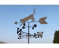 Girouette chat et souris en acier avec mât et fixation murale