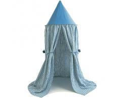 Tente suspendue en coton bleu à carreaux