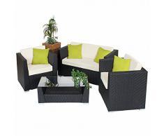 TecTake Salon de Jardin Résine Tressée Poly Rotin Aluminium noir+ 4 oreillers supplémentaires