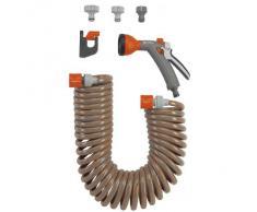 Flexible d Arrosage 10 M de Gardena : Tuyau d Arrosage Spiralé pour Petites Surfaces, Force de Rappel, Diamètre 9 Mm, avec Éléments Du Système Gardena et Lance (4647-20)