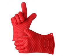 Fenrad® Nouveau 1 paire de Rouge Gant de Cuisine Thermonégatif en Silicone Manique Gants pour à Micro-ondes /Anti-chaleur Vapeur Glove Résistant--Rouge