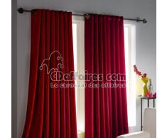 douceur dintérieur rideau a oeillets carres 140x260 cm occultant cocoon rouge