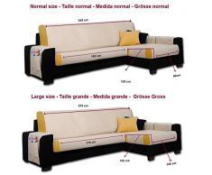 Housse de Canapé d'angle Larissa angle Droite, Grande taille (275 cm), Couleur Gris