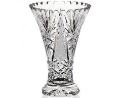 "Vase, vase en cristal, collection ""VIRNA"", 21 cm, faits main, transparent (GERMAN CRYSTAL powered by CRISTALICA)"