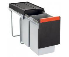 FRANKE 134.0039.554 Poubelle de tri des déchets, Gris/Noir, 30L