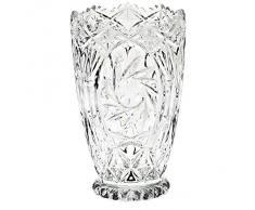 "Vase, vase en cristal, collection ""MARINA"", 17,5 cm, fait à main, transparent, cristal, style moderne (GERMAN CRYSTAL powered by CRISTALICA)"
