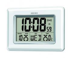 Seiko QHL058W Horloge digitale écran LCD Blanc perle