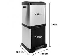 Poubelle casa pura® Dylan à 2 bacs (16L + 18L)   système de tri peu encombrant   volume 34L - design innovant   acier inox - arrangement vertical