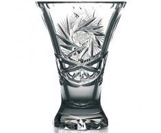 """Vase en cristal, Collection """"LINA"""" transparent, H=24 cm, fait à la main, cristal, style moderne - uniques (GERMAN CRYSTAL powered by CRISTALICA)"""