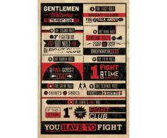 1art1 62499 Fight Club Poster 8 Règles Interdit de Parler 91 x 61 cm