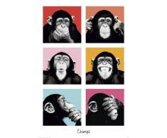 Chimpanzé au style de Pop Art Poster Grand Format 61 x 91.5 cm