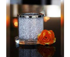 "Bougeoir en verre, Collection ""Crystal Diamonds"", H=6,5 cm, transparent avec strass blanc, fait à main, style moderne - uniques (GERMAN CRYSTAL powered by CRISTALICA)"