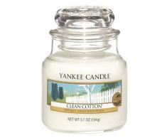 Yankee Candle Bougie parfum Coton frais Petite jarre, Verre, Blanc, 6.5 x 6.2 x 7.1 cm