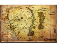 1art1 62844 Le Hobbit Poster Carte de la Terre du Milieu 91 x 61 cm