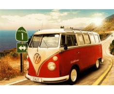 1art1 48814 Poster Voitures Bus Vw Californie Route One 91 X 61 cm