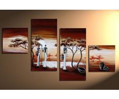 """Bilderdepot24 """"Afrique 1"""" tableau peinture, sur toile, peint à la main, 80x50cm ensemble de 4 pièces 101"""