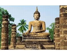 Poster 287 mural géant 366 x 254 cm Bouddha Wat Sra Si Temple de Sukhothai en 8 parties grandes dimensions
