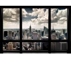 1art1® 56668 Poster New York Fenêtre Qui Donne Sur La Skyline 91 x 61 cm