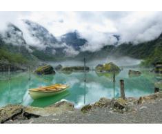 Lacs Papier Peint Photo/Poster Autocollant - Barque Au Lac De Montagne En Norvège, 3 Parties (360 x 250 cm)
