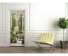 PLAGE 141024 Sticker trompe l'œil porte - Jardin d'hiver, 204 x 83 cm
