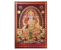 Poster Lakshmi 33 x 48 cm Hollogramme 3D Brillant doré Inde Accessoire Hindouisme Décoration Maison