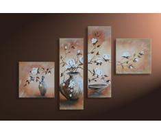 """Bilderdepot24 """"magnolia M1"""" tableau peinture, sur toile, peint à la main, 100x70cm ensemble de 4 pièces 228"""