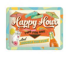 Nostalgic-Art Affiche publicitaire métallique en Anglais Happy Hour 20 x 15 cm