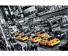 Poster mural géant 116 366 x 254 cm Taxis New Yorkais par Michael Feldmann Noir et Blanc et couleur en 8 parties grandes dimensions