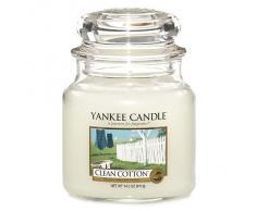 Yankee Candle Bougie en pot Parfum coton frais, Taille M