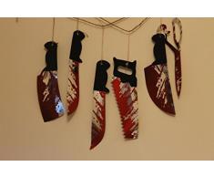 Guirlande Couteaux Suspendus 6 Pièces Sur Fil 1,8m - Décoration Halloween Armes Sanglantes Pour Fenêtres, Murs, Cheminées, Etc