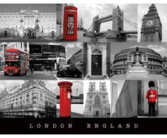Pyramid International Angleterre Londres Mini Poster, Plastique/Verre, Multicolore, 40Â x 50Â x 1.3Â cm