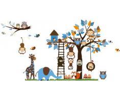 Jungle forêt animal singe, l'écureuil et le swing de hibou jeu sur des feuilles colorées Arbre Sticker mural Wall Sticker