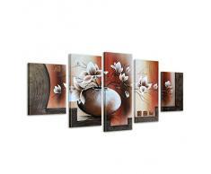 Inconnu Bilderdepot24 Magnolia M3 Tableau Peinture, Sur Toile, Peint À La Main, 150x70cm Ensemble De 5 Pièces 609
