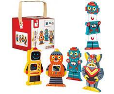Janod - J07037 - Funny Magnets Bois - Robots