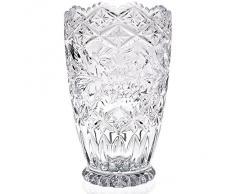 "Vase, vase en cristal, collection ""REBECCA"", 17,5 cm, fait à main, transparent, cristal, style moderne (GERMAN CRYSTAL powered by CRISTALICA)"
