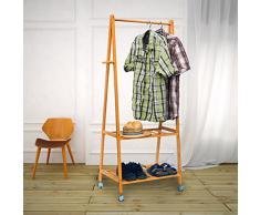Relaxdays Portant à vêtements Porte-vêtements valet de chambre 2 niveaux rangement pour chaussures HxlxP :154 x 73,5 x 45 cm avec roulettes, nature
