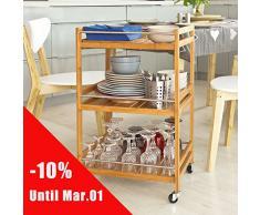 Promotion -15%! SoBuy® FKW11-N Table roulante Meuble de rangement à roulettes, Desserte de cuisine de service massif en bambou, Chariot de cuisine, salle de bains L46xP38cmxH76cm